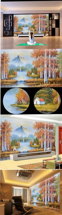 欧式乡村山水风景油画