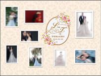 欧式香槟色婚礼照片迎宾墙背景