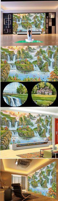手绘高清高山流水油画背景墙