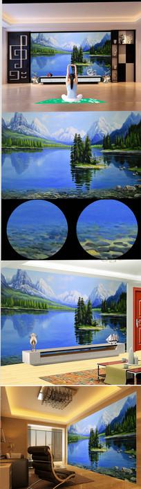 手绘高山流水油画背景墙