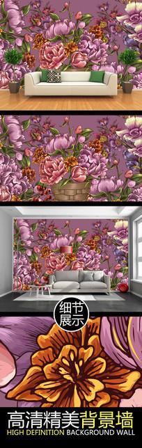 手绘艺术花卉装饰电视背景墙