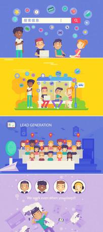 网络市场推广动画模板