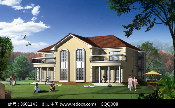 现代欧式风格别墅建筑效果图图片