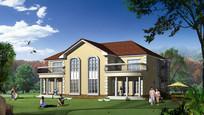现代欧式风格别墅建筑效果图