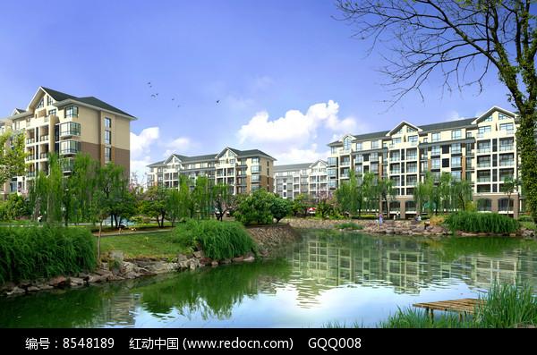 小区滨水景观效果图图片