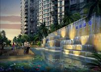 小区跌水景墙设计效果图 JPG