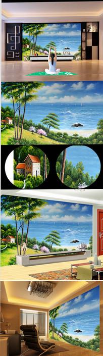 新中式大海高山别墅风景油画