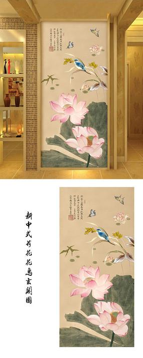 新中式工笔花鸟荷塘玄关背景墙