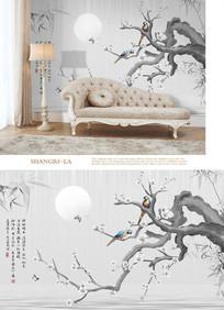 新中式国画白梅沙发电视背景墙