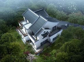 中式别墅设计整体鸟瞰效果图片