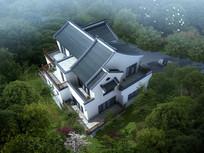 中式别墅设计整体鸟瞰效果