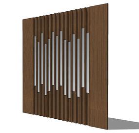 中式木制壁板模型