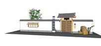 中式小庭院入口及围墙