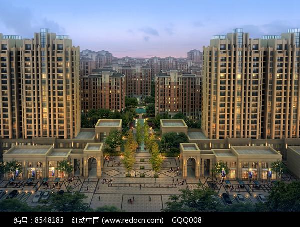 住宅区入口景观设计鸟瞰效果图图片
