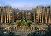 住宅区入口景观设计鸟瞰效果图