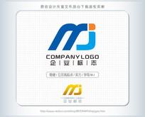 字母mj蓝色标志logo设计