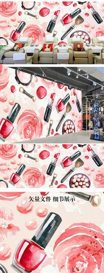 彩绘美甲店美容院背景墙形象墙