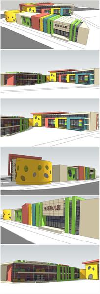 彩色幼儿园建筑SU模型 skp