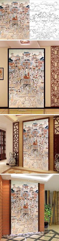 佛教菩萨人物玄关背景墙