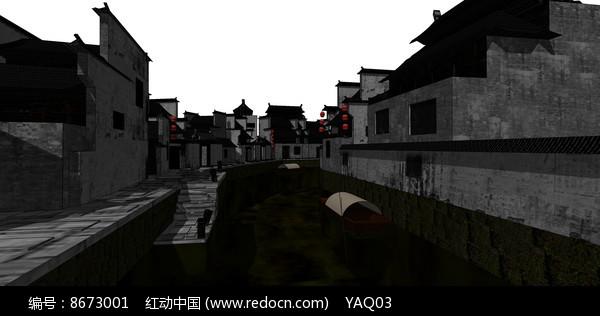 古镇SU模型图片