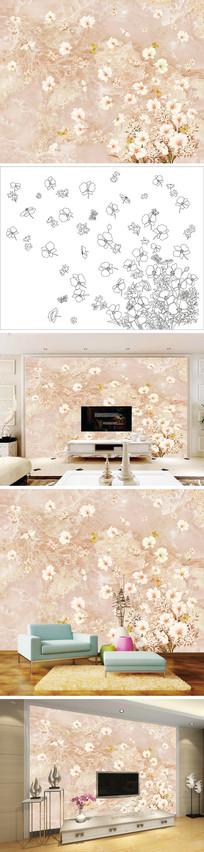 花朵花瓣大理石纹背景墙 PSD
