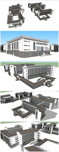 教学楼礼堂图书馆建筑SU模型 skp
