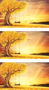 金秋季节枫叶飘落大树下视频