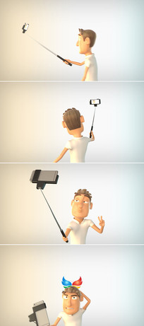 卡通人物自拍手机微信模板