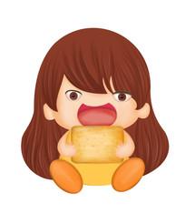 可爱小女孩吃饼干卡通形象设计