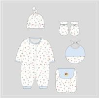 可爱婴童服装设计稿款式图