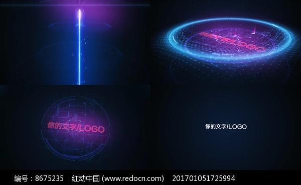 蓝色科技线条标志LOGO视频图片