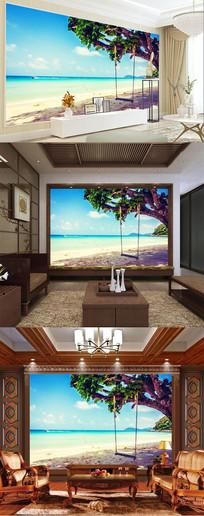 蓝天白云海滩主题空间背景墙