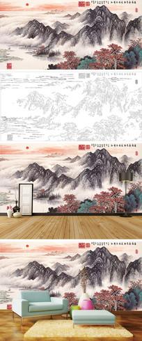 岭南春色山水背景墙