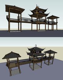 木质亭廊高台su模型