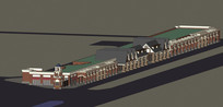 欧式步行街建筑模型