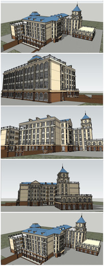 欧式风格小学建筑SU模型 skp