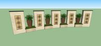 欧式花钵景墙模型