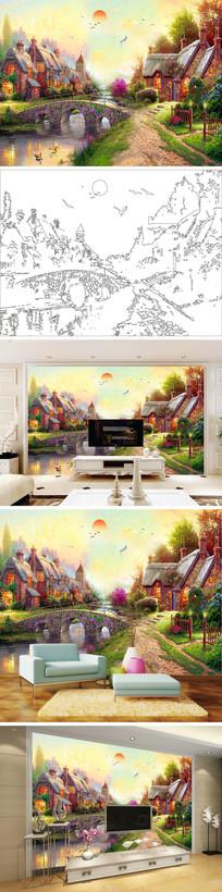 欧式油画乡村三眼桥背景墙