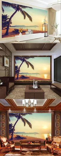 日照海滩主题空间背景墙
