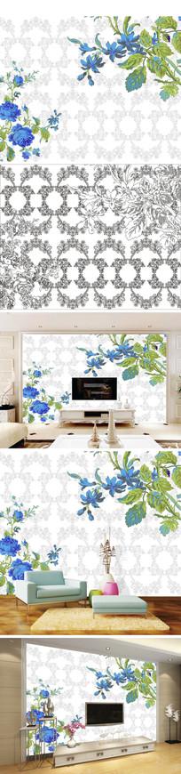 手绘花朵花卉底纹花纹背景墙