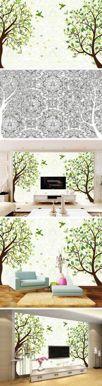 手绘树林大树树叶背景墙