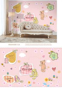 手绘小熊儿童房粉色沙发背景墙