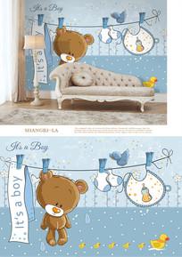 手绘小熊儿童沙发背景墙