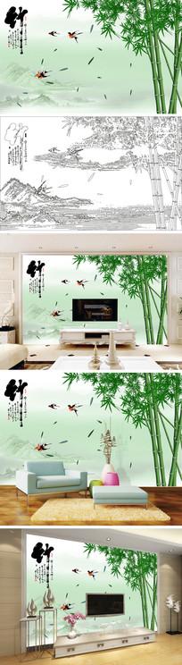 手绘竹子燕子竹叶背景墙