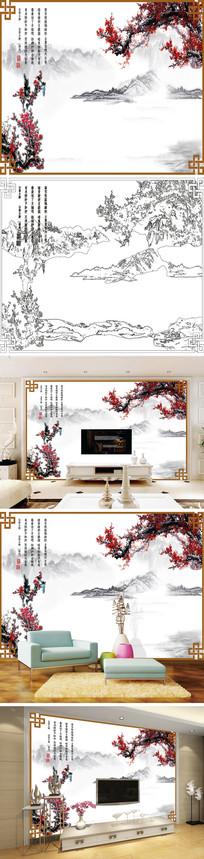 水墨梅花喜鹊背景墙