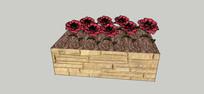 条形块石花池模型