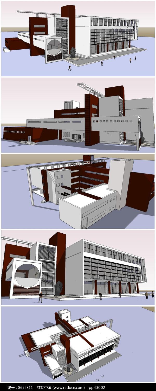 图书馆建筑SU模型图片
