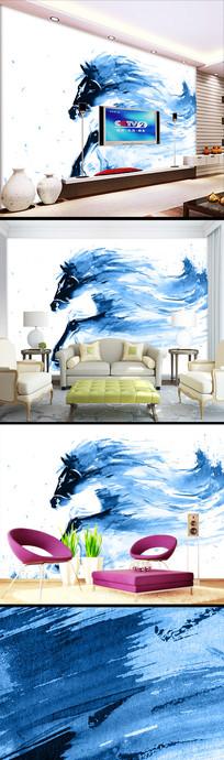 现代时尚手绘水彩骏马壁纸
