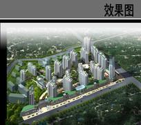 小区住宅设计鸟瞰图 JPG