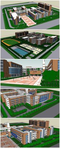 小学校园整体规划SU模型
